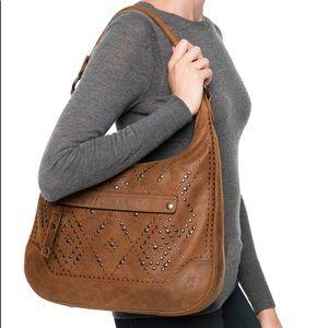Frye Large Leather Studded Hobo Bag